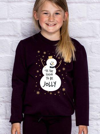 Bluza dziecięca ze świątecznym nadrukiem bałwana ciemnofioletowa