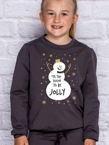 Bluza dziecięca ze świątecznym nadrukiem bałwana ciemnoszara