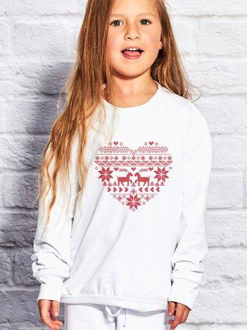 Bluza dziecięca ze świątecznym nadrukiem biała
