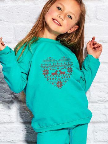 Bluza dziecięca ze świątecznym nadrukiem zielony