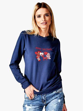 Bluza granatowa z bożonarodzeniowym motywem