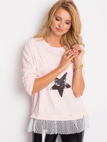 Bluza jasnoróżowa z koronką