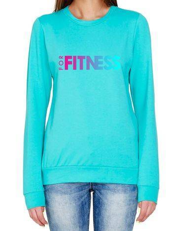 Bluza ombre nadrukiem FOR FITNESS turkusowa