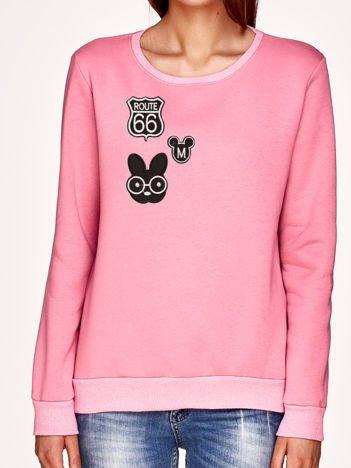 Bluza różowa z naszywkami ROUTE 66