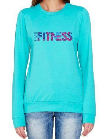 Bluza z ażurowym napisem FOR FITNESS zielona