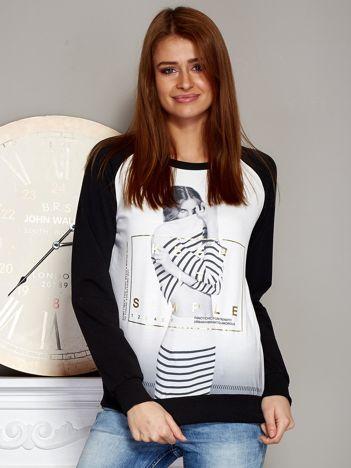 Bluza z fotoprintem dziewczyny czarny