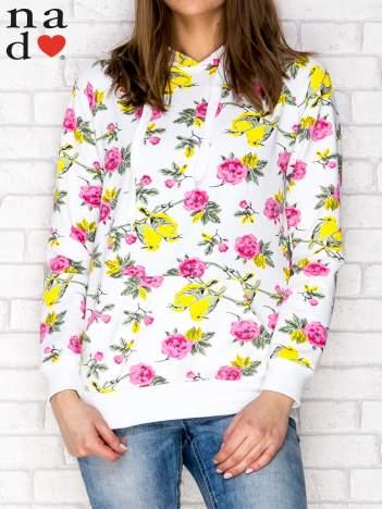 Bluza z kapturem w kwiaty ecru