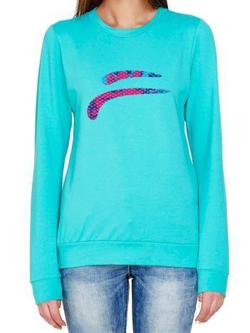 Bluza z kolorowym emblematem turkusowa