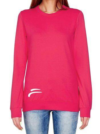 Bluza z kontrastowym logo ciemnoróżowa