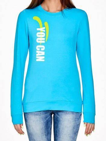 Bluza z motywującym napisem turkusowa