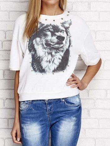 Bluza z nadrukiem wilka i ćwiekami ecru