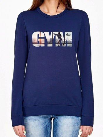 Bluza z napisem GYM granatowa