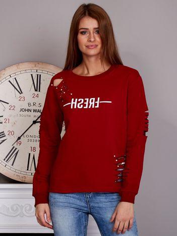 Bluza z napisem i rozcięciami czerwona