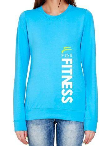 Bluza z pionowym napisem i logo FOR FITNESS turkusowa