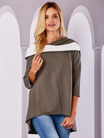 Bluza z szerokim dekoltem khaki