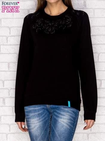 Bluza z tłoczonym kwiatowym wzorem czarna