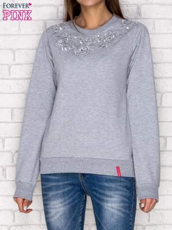 Bluza z tłoczonym kwiatowym wzorem szara