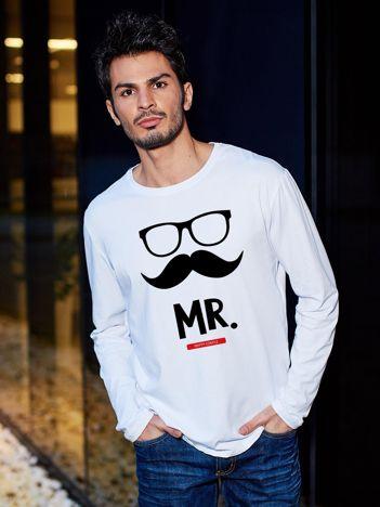 Bluzka biała męska dla par hipster MISTER