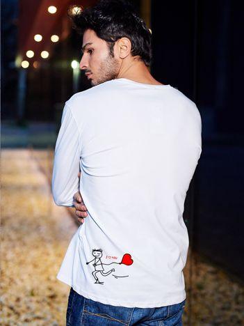 Bluzka biała męska z długim rękawem I LOVE HER dla par