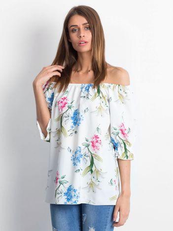 Bluzka biała z hiszpańskim dekoltem w kwiaty
