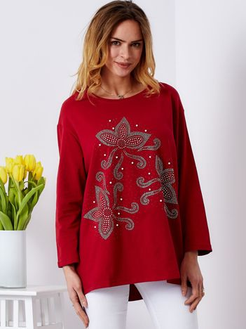 Bluzka ciemnoczerwona z ornamentowym wzorem z dżetów