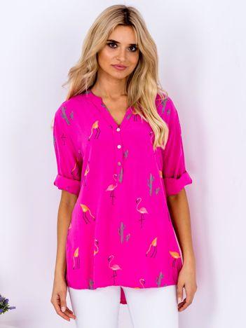 Bluzka ciemnoróżowa w flamingi