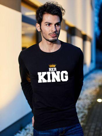 Bluzka czarna męska z koroną HER KING dla par