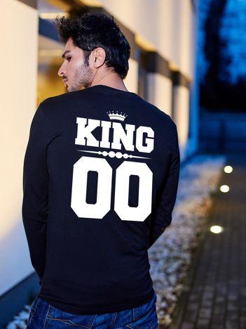 Bluzka czarna męska z miejskim nadrukiem KING dla par