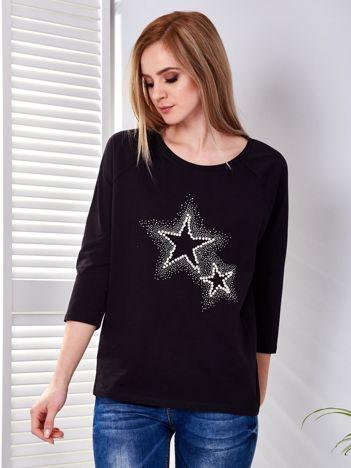 Bluzka czarna z biżuteryjnymi gwiazdkami