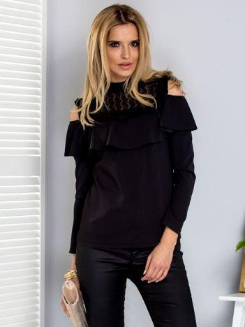 Bluzka czarna z szeroką falbaną