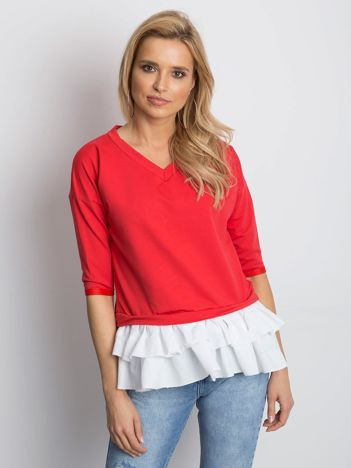 Bluzka czerwona V-neck z kontrastową falbanką