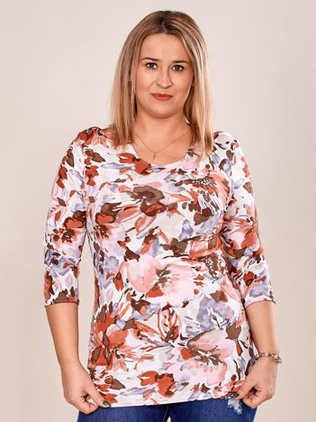 Bluzka damska PLUS SIZE w kolorowe kwiaty