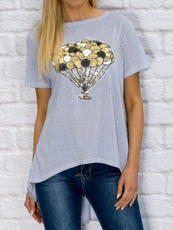 Bluzka damska z cekinową aplikacją balonów ciemnoniebieska