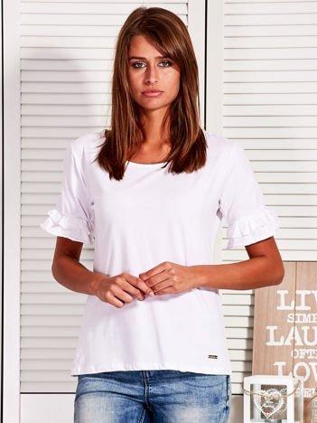 Bluzka damska z falbankami na rękawach biała
