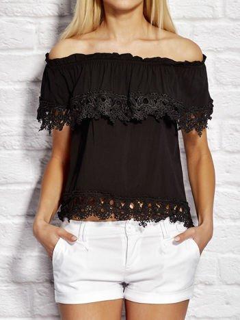 Bluzka damska z hiszpańskim dekoltem czarna