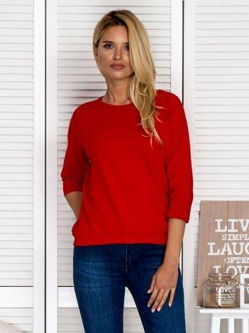 Bluzka damska z koronkową wstawką na plecach czerwona