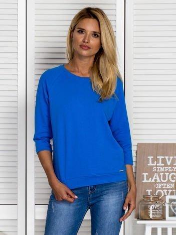 Bluzka damska z koronkową wstawką na plecach niebieska