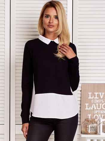Bluzka damska z koszulą i suwakiem czarna