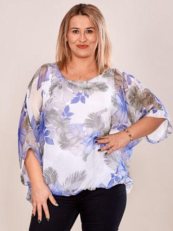 Bluzka damska z motywem exotic print biała PLUS SIZE
