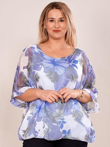 Bluzka damska z motywem exotic print niebieska PLUS SIZE