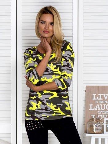 Bluzka damska z motywem moro z suwakiem żółta