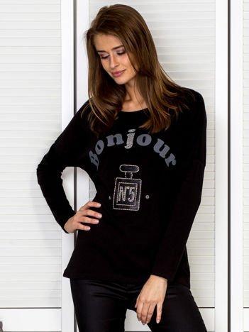 Bluzka damska z motywem perfum i dżetami czarna