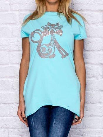 Bluzka damska z nadrukiem kota turkusowa