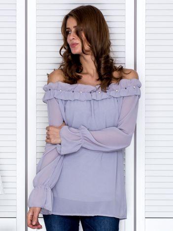 Bluzka damska z ozdobnym dekoltem szara