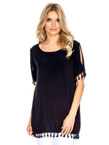 Bluzka damska z pomponikami czarna