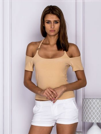 Bluzka damska z wiązaniem beżowa