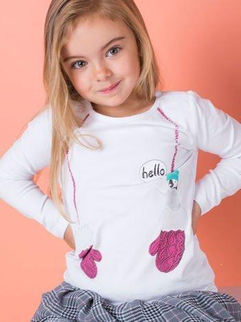 Bluzka dla dziewczynki z zimowym nadrukiem biała