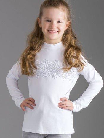 Bluzka dziewczęca biała z koronkową wstawką