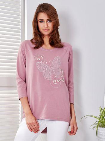 Bluzka fioletowa z biżuteryjnym motylem