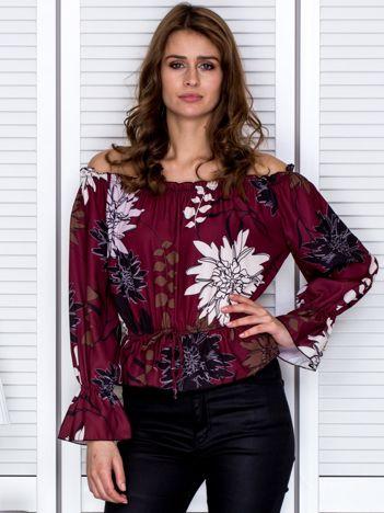 Bluzka hiszpanka w kwiaty bordowa